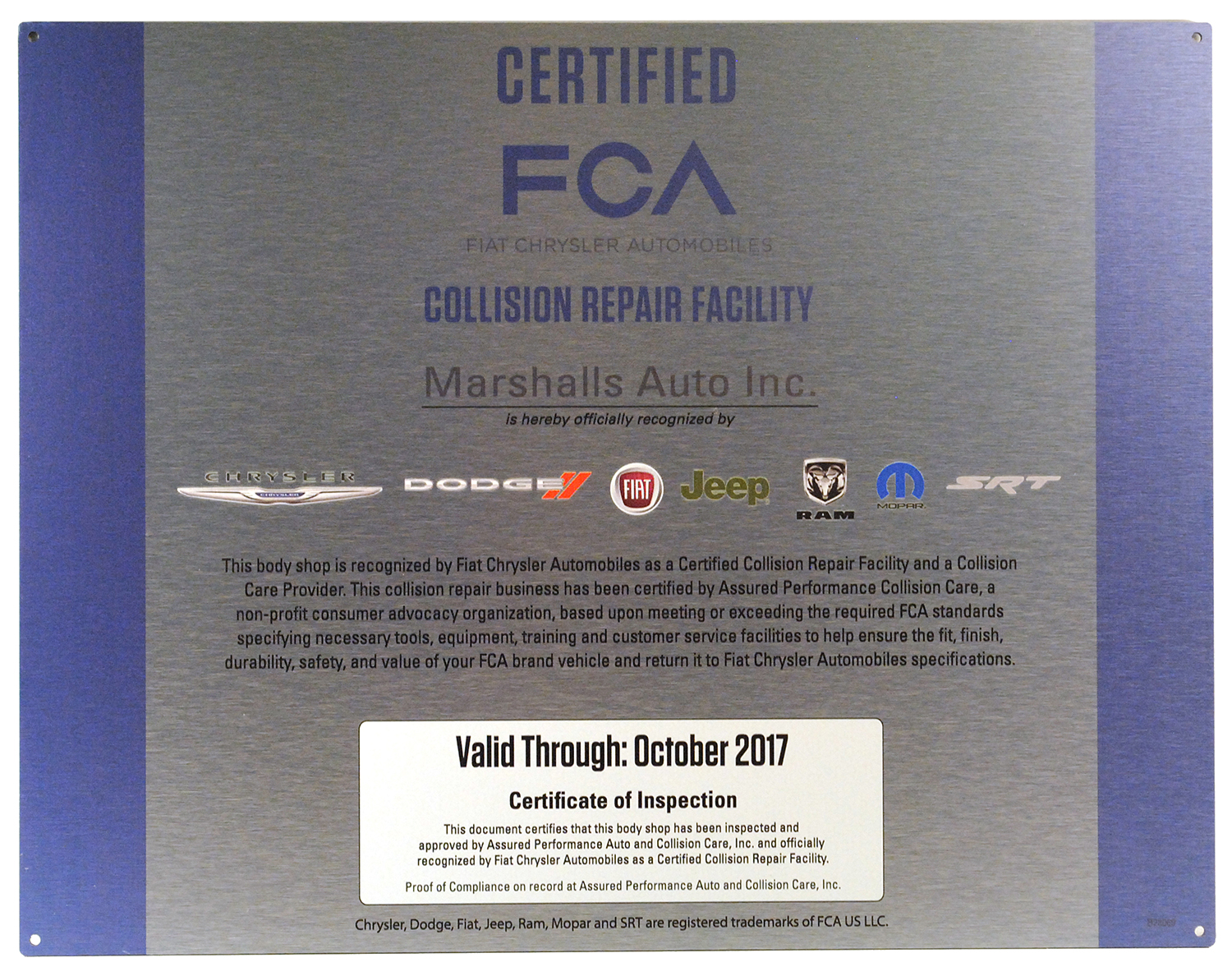 FCA Certified Facility