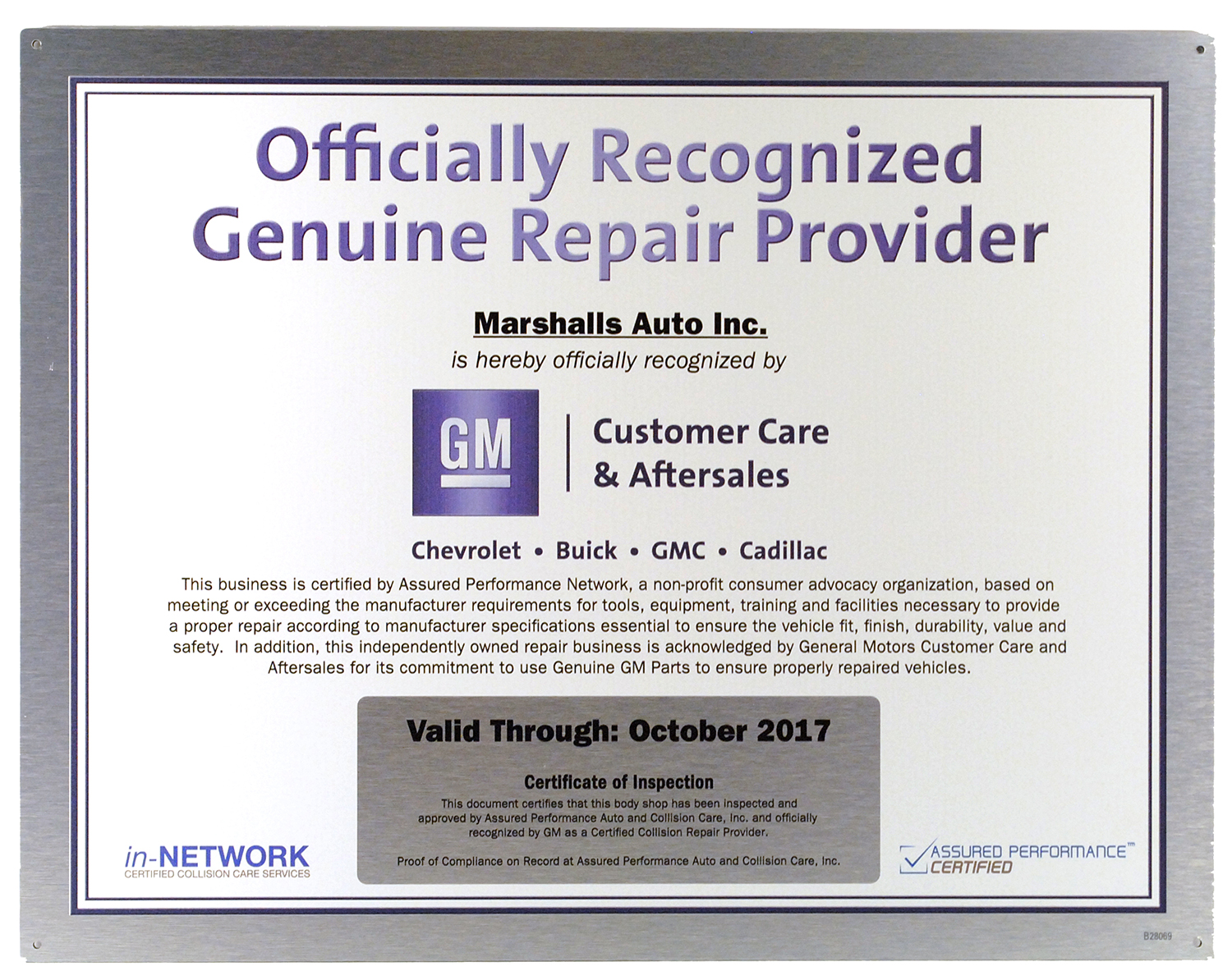 GM Genuine Repair Provider