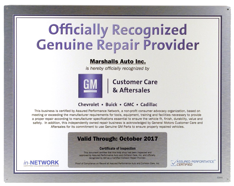 GM Genuine Repair Provider