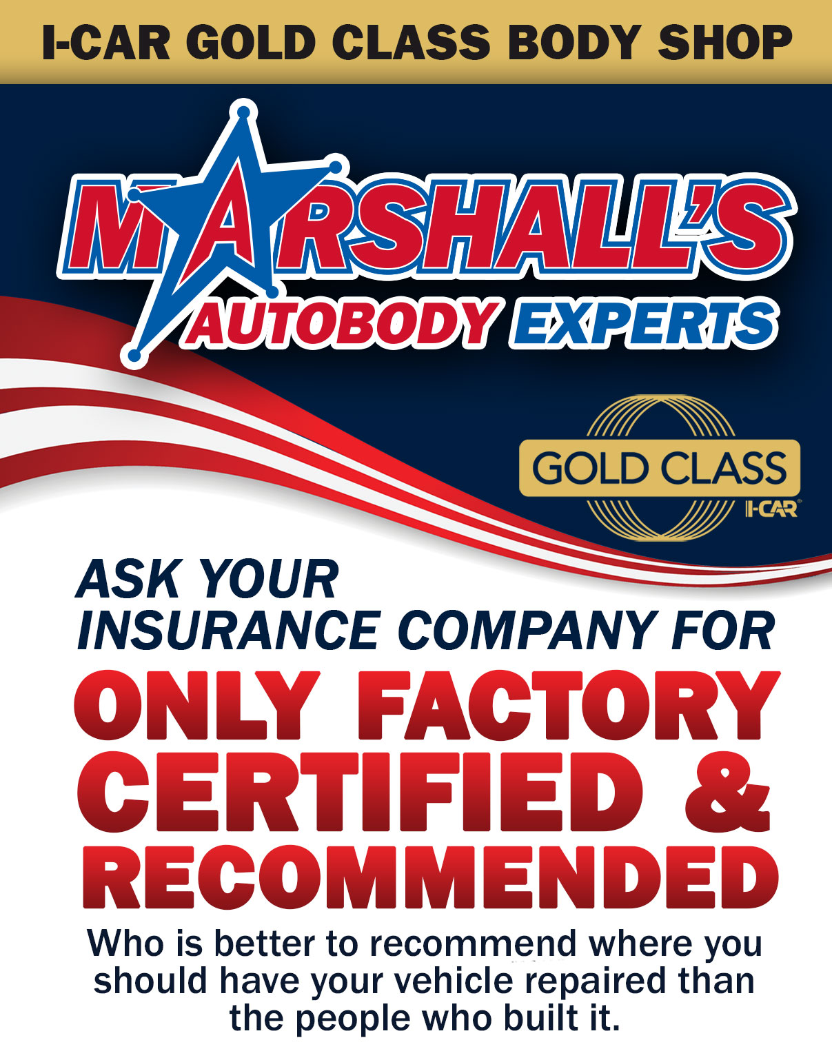 Marshall's Autobody of Billerica is I-Car Gold Certified